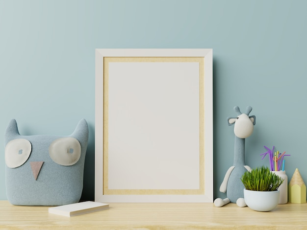 Mock up posters in child room interior, posters on empty blue wall background. Premium Photo