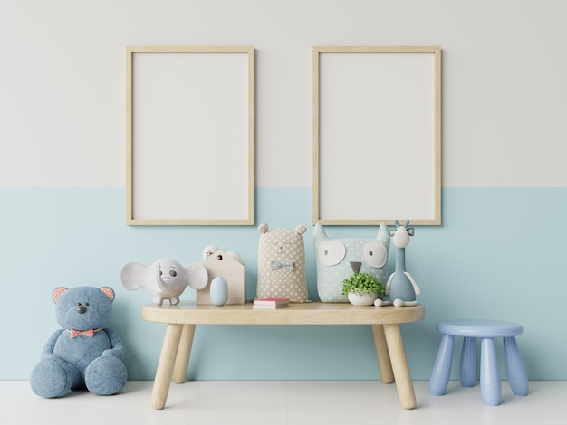 Mock up posters in child room interior, posters on empty white/blue wall background. Premium Photo