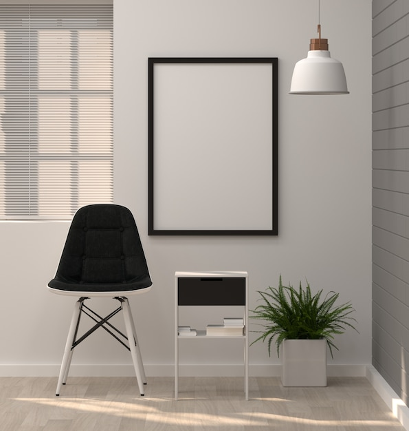 Mock up posters frame in modern living room chair and ornamental Premium Photo