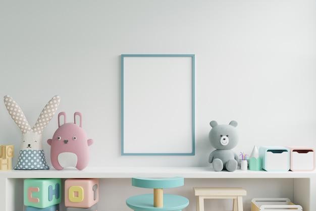 아이 방 인테리어, 빈 흰색 벽 배경 포스터에 포스터를 비웃는 다. 프리미엄 사진