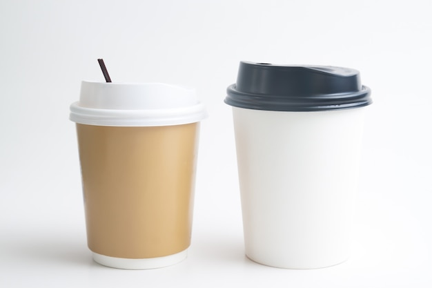 Mock up of takeaway cups on white background Premium Photo