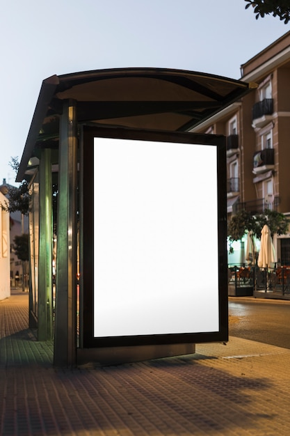 Mock-up of template bus stop lightbox at night Free Photo