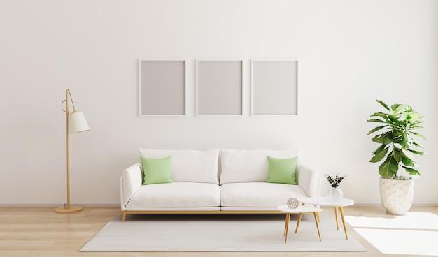 현대적인 인테리어에 3 개의 포스터 프레임을 조롱하십시오. 스칸디나비아 스타일, 밝고 아늑한 거실 인테리어. 대비 베개와 흰 벽과 소파가있는 거실. 3d 렌더링 프리미엄 사진