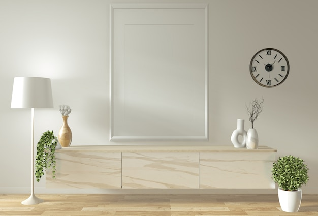 Mock up tv cabinet and display with room minimal design and decoration japanese style Premium Photo