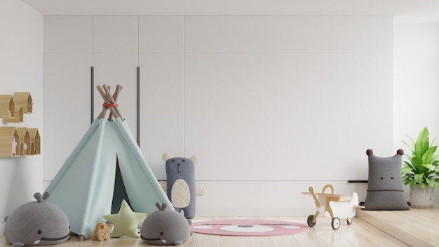 Mock up wall in the children's room in white wall background. Premium Photo