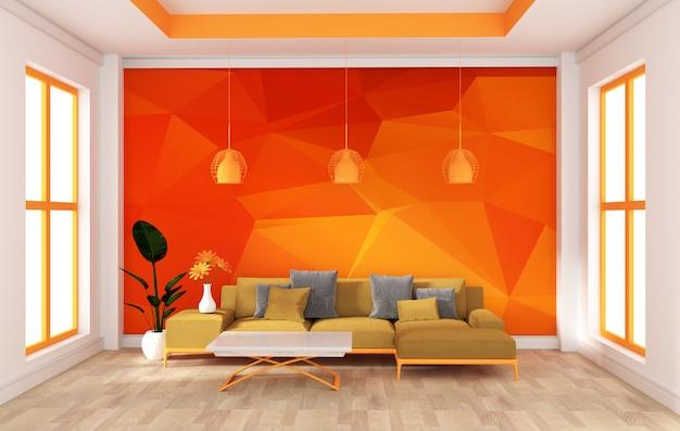 モダンなオレンジ色の部屋の壁をモックアップします。 3dレンダリング Premium写真