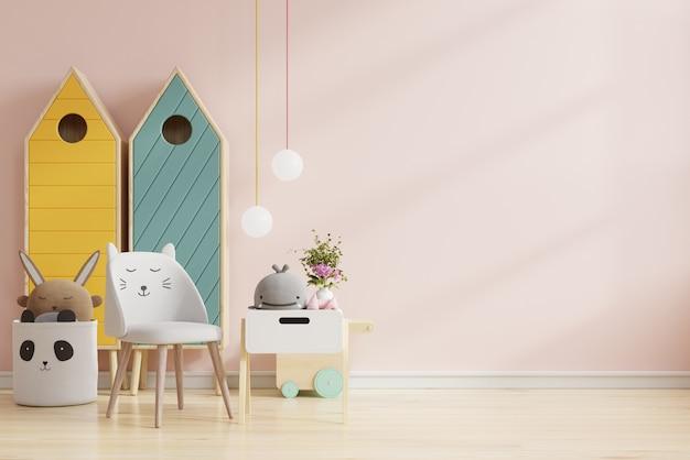 밝은 분홍색 벽 배경 .3d 렌더링에서 어린이 방에 벽을 모의 프리미엄 사진