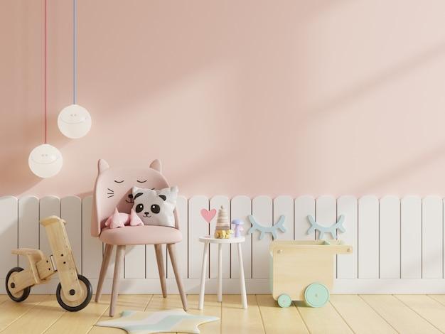 Макет стены в детской комнате со стулом на светло-розовом фоне стены, 3d-рендеринг Бесплатные Фотографии