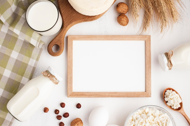Mock-up white framed board top view Free Photo