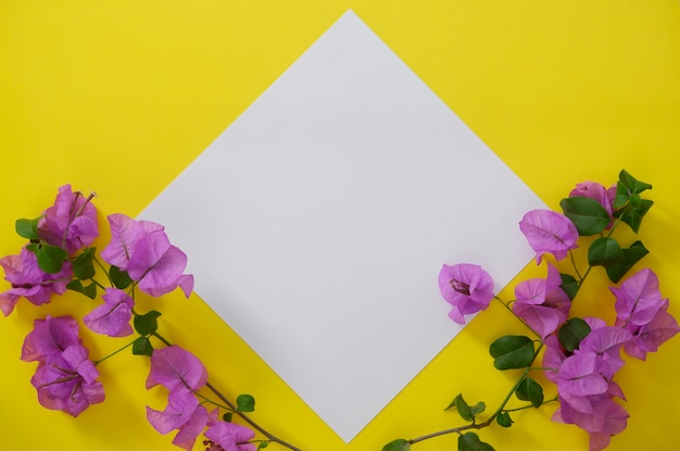 Mock-up white paper with space for text or picture on yellow background and flowers. Premium Photo