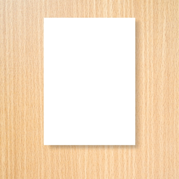 Mock up white poster frame on cream wood wall background texture for ...