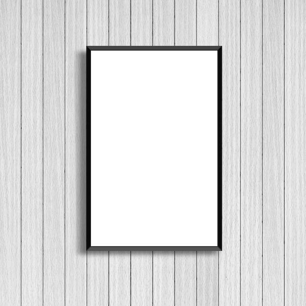 Mock up white poster frame on modern white wood background Photo ...