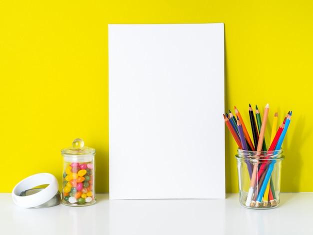 Mockup clean white canvas, colored pencils on bright ...