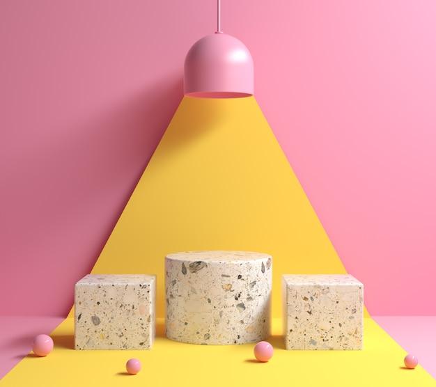 Макет современный минимальный абстрактный геометрический подиум под концепцией лампы желтого света и розовый цветовой тон фона 3d визуализации Premium Фотографии