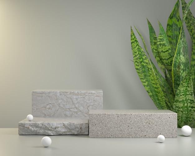 ヘビの植物の背景3 dのレンダリングを持つショー製品のモックアップ表彰台の石 Premium写真