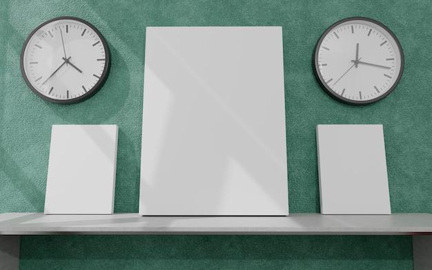 Рамка плаката макета на фоне интерьера гостиной, скандинавский стиль, 3d визуализация, 3d иллюстрация Premium Фотографии