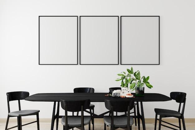 현대적인 인테리어 배경, 거실, 스칸디나비아 스타일, 3d 렌더링, 3d 일러스트에서 모형 포스터 프레임 프리미엄 사진