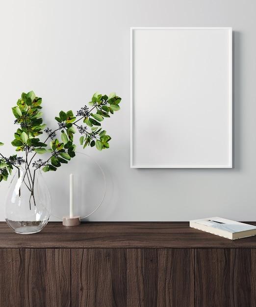 Макет постер кадр в современном интерьере фон, скандинавский стиль, 3d визуализации, 3d иллюстрации Premium Фотографии