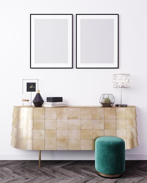 Макет постер кадр в современном интерьере фон, скандинавский стиль, 3d-рендеринг, 3d иллюстрации Premium Фотографии