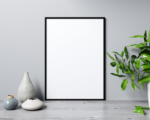 Mockup poster frame in modern interior background, scandinavian style, 3d rendering Premium Photo