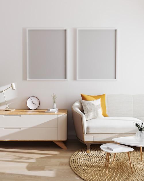 현대 거실 인테리어 이랑 포스터 프레임입니다. 스칸디나비아 스타일, 빈 그림 프레임 모형, 아름다운 생활 인테리어, 3d 렌더링 프리미엄 사진