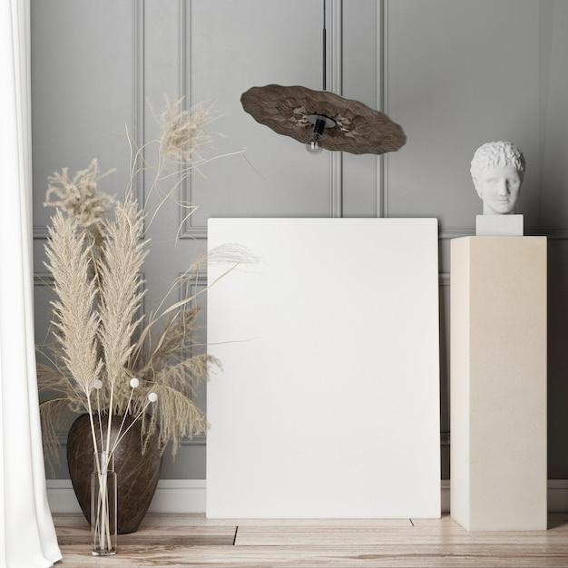 Макет плаката в гостиной на серой декоративной стене. скандинавский дизайн. 3d визуализация, 3d иллюстрации Premium Фотографии