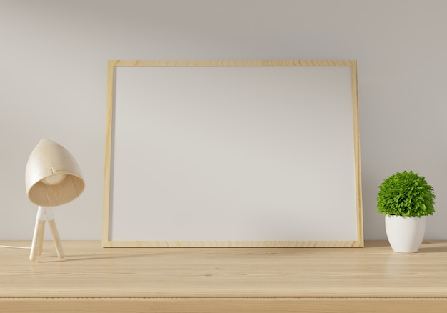 Mockup poster on white wall background. 3d rendering. Premium Photo