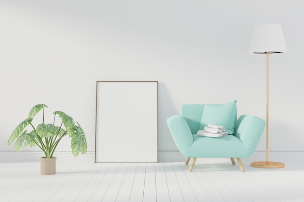 Mockup poster with frame standing on floor in living room. 3d rendering. - illustration Premium Photo