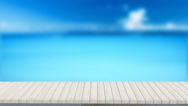 이랑 여름 흐리게 바다 풍경을 찾고 3d 렌더링 나무 테이블 프리미엄 사진