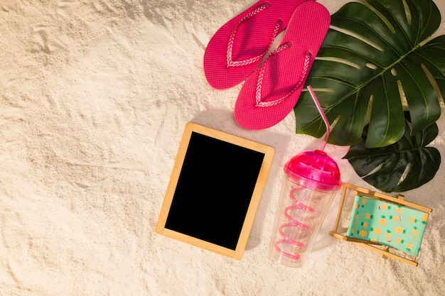 Mockup for summer with beach items Free Photo