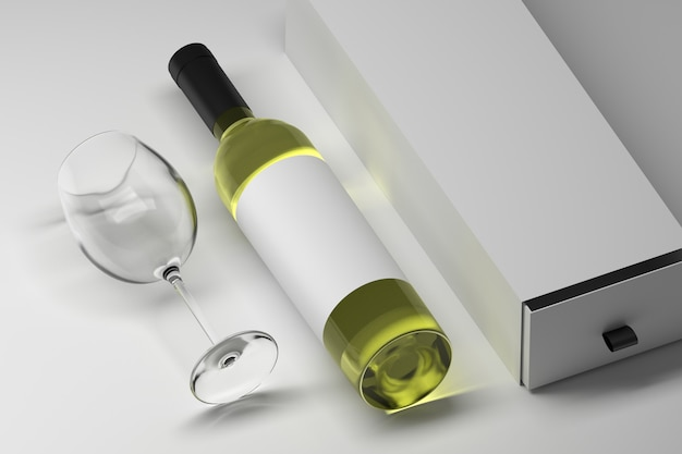 Mockup template of bottle of wine alcoholic drink with blank white label and long gift box with transparent glass Premium Photo