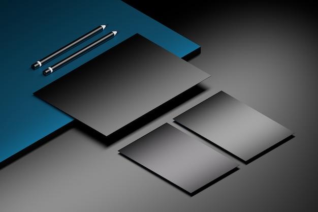 Шаблон макета с листом бумаги формата а4 и двумя визитными карточками на мраморной поверхности с двумя карандашами. 3d иллюстрации Premium Фотографии