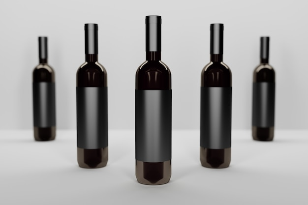 Mockup template with a row of five dark glass vine bottles on white Premium Photo