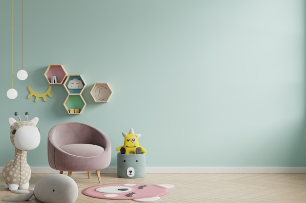 Mockup wall in the children's room on wall green colors background. Premium Photo