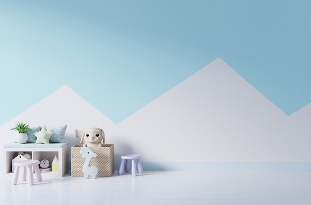 Mockup wall in the children's room on wall pastel colors background. Premium Photo