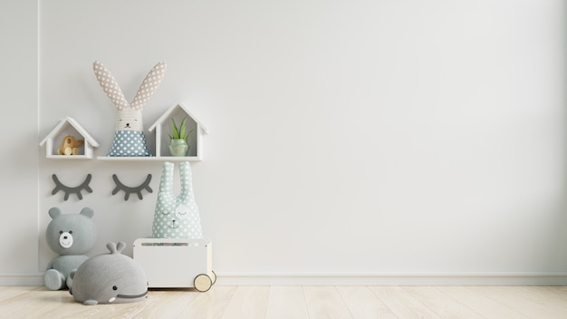 Mockup wall in the children's room on wall white colors background. Premium Photo