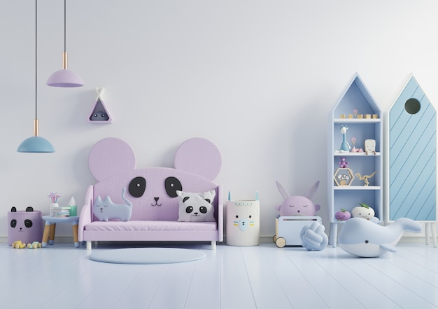 Mockup wall in the children's room on wall white colors background Free Photo