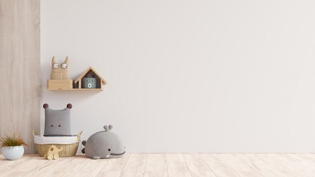 壁の白い色の背景の子供部屋のモックアップ壁。 無料写真