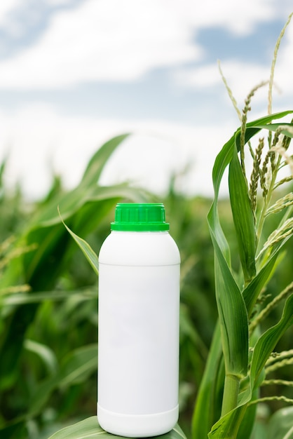 Mockup white bottle. copy space for herbicide, fungicide or insecticide. Premium Photo