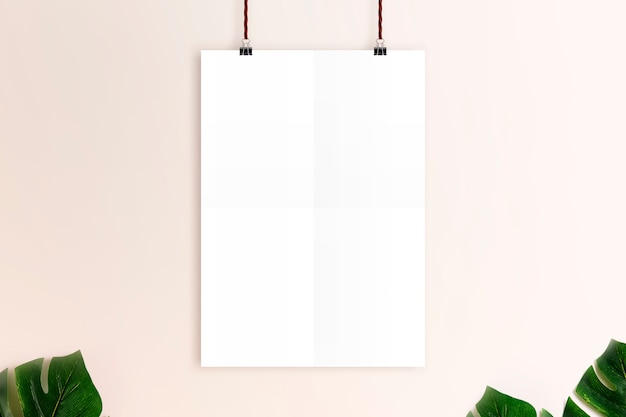 Mockup white poster on rusty pink wall background. Premium Photo