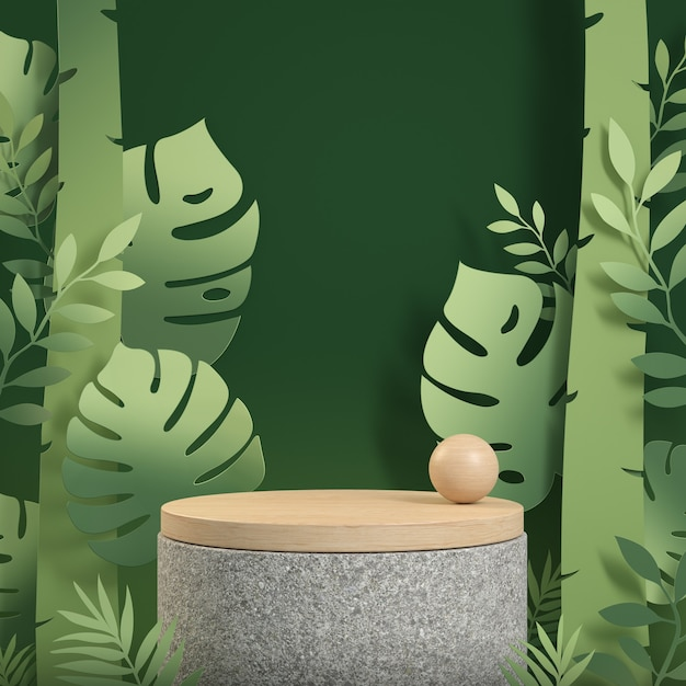 Mockup wood podium display with green tropical forest paper art concept abstract background 3d render Premium Photo