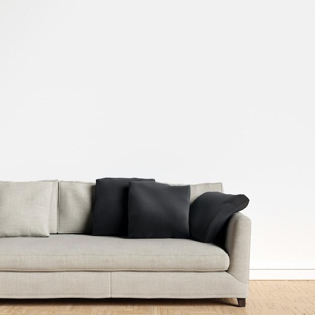 Интерьер стенной галереи mockup с мебелью и украшением Premium Фотографии