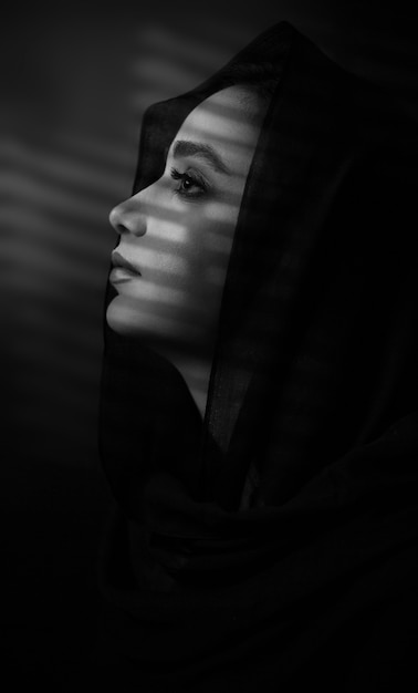 Model wearing black hijab Free Photo