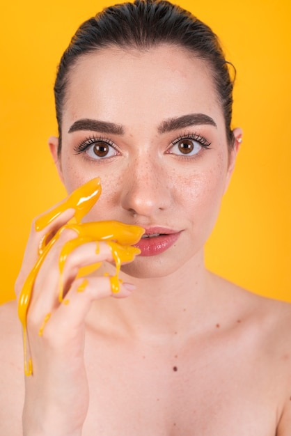 Model with painted hands Free Photo