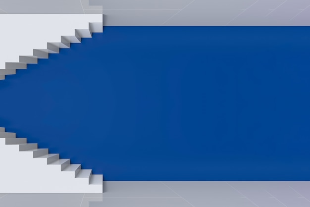 Modern art white staircase up and down on blue wall background. Premium Photo