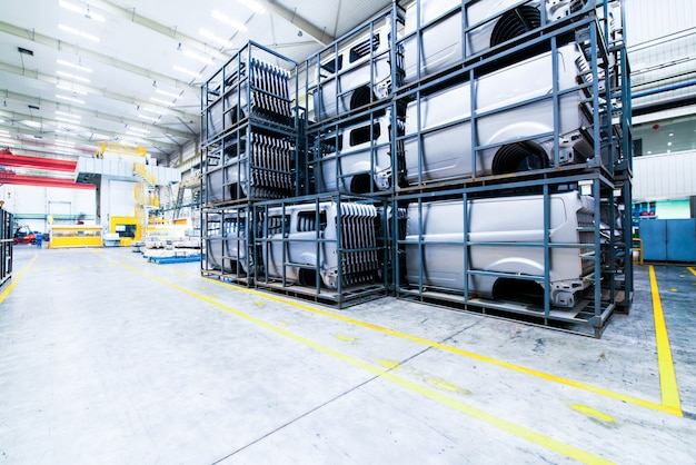 Modern automated assembly line for cars Premium Photo