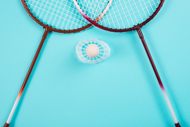 Modern badminton equipment composition Free Photo