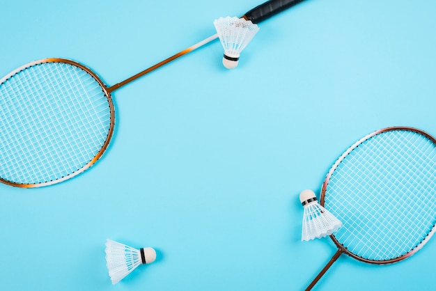 Modern badminton equipment composition Free Photo