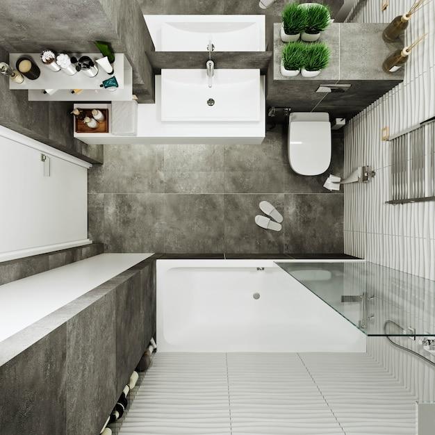 Современный дизайн ванной комнаты с плиткой под бетон и волновой плиткой Premium Фотографии