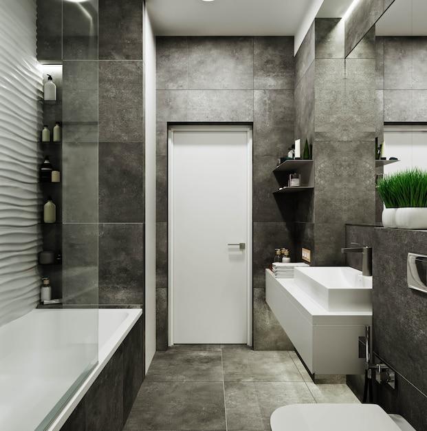 コンクリートと波の下のタイルでモダンなバスルームのデザイン Premium写真